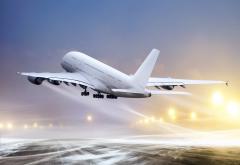 airbus a380, aircraft, plane, airbus, take-off, winter, snow wallpaper