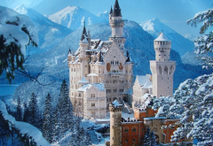 neuschwanstein castle, winter, germany, snow, neuschwanstein, bavaria, castle, mountains, city wallpaper