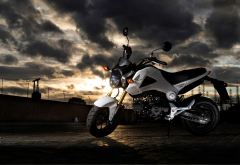 honda msx125, motorcycle, honda, bike, dark clouds wallpaper