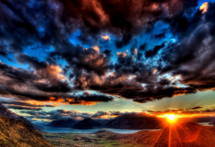sky, clouds, hills, valley, river, nature wallpaper