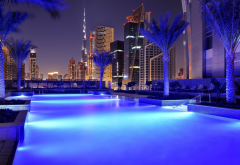 city, dubai, evening, uae, pool, palm tree, burj khalifa wallpaper