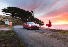 supercar, girl, nature, alfa romeo, cars, sunset, red dress, alfa romeo 4c wallpaper