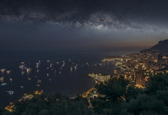 monaco, monte carlo, city, night, yacht, stars, sea wallpaper