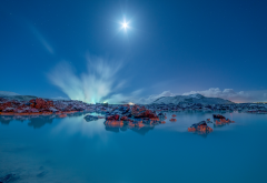 iceland, blue lagoon, lake, grindavik, night, nature wallpaper