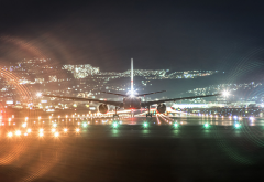 boeing 777, aircraft, boeing, night, passenger plane, aviation, aircraft, runway wallpaper