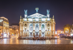 opera, lviv, theatre, city, ukraine, night, lights, lviv theatre of opera and ballet wallpaper