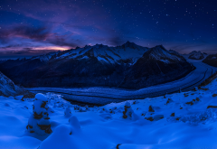 aletsch glacier, fieschertal, switzerland, mountains, landscape, winter, snow, glacier, night, nature wallpaper
