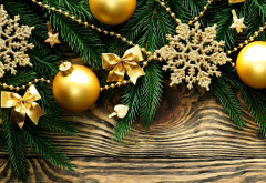 new year, christmas, branches, balls, snowflakes, holidays wallpaper