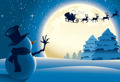 new year, santa, reindeer, snowman, stars, night, christmas, holidays wallpaper