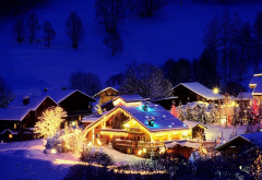 christmas village, mountains, night, house, lights, winter, snow wallpaper
