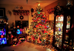 christmas tree, lights, toys, interior, house, holidays wallpaper