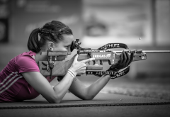 girl, rifle, shooting, sport wallpaper