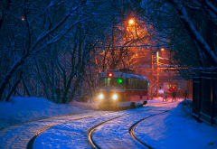tatra t3, city, evening, tram, snow, winter wallpaper