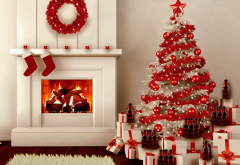 fireplace, christmas tree, new year, graphics, christmas wallpaper