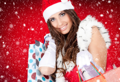 new year, holidays, shopping, girl, smile, women, christmas, snow, smiling, brunette wallpaper