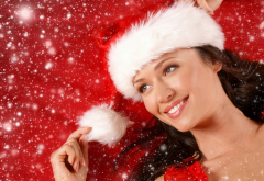 christmas, new year, holidays, girl, smiling, women, brunette wallpaper
