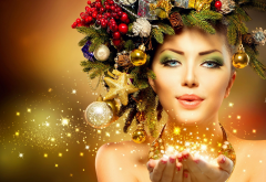 christmas, new year, holidays, girl, women, magic wallpaper
