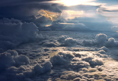 landscape, nature, sky, clouds, aerial view, sun rays, infinity wallpaper