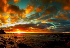 sky, sea, sunset, clouds, nature wallpaper