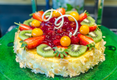 dessert, cake, fruits, kiwi, strawberry, food wallpaper