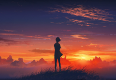 anime, sunset, sunrise wallpaper