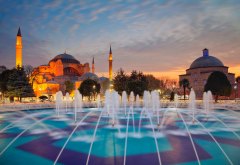 hagia sophia, evening, istanbul, minaret, turkey, fountain wallpaper