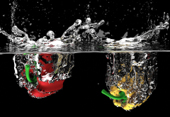 fruits, water, drops, water splashes, sweet pepper, bell pepper wallpaper