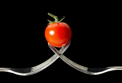 tomato, close-up, black background, forks wallpaper