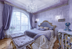 interior, bedroom, bed, window, chandelier, curtains wallpaper