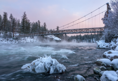 bridge, river, winter, snow, ice, nature, beautiful, suspension bridge wallpaper