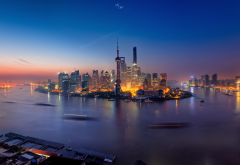 city, shanghai, china, river, night, cityscape wallpaper