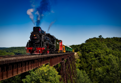 japanese steam train, js 8419, boone and scenic valley railroad, train, locomotive, railway, landscape, nature, bridge, steam train, rails wallpaper