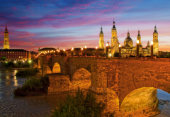 spain, lights, night, sky, stone bridge, lion bridge, basilica of our lady of the pillar, river ebro, city wallpaper