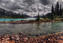 lake, river, forest, mountains, clouds, nature wallpaper