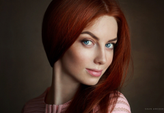 women, redhead, face, portrait, blue eyes wallpaper