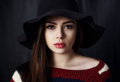 women, face, portrait, hat, brunette, red lips wallpaper
