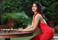 catherine tresa, actress, bollywood, indian, red dress, brunette wallpaper