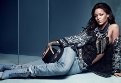 rihanna, vogue uk, singer, celebrity, actress, women, brunette, jeans wallpaper