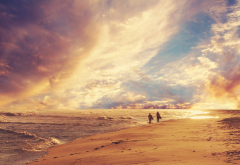beach, sea, waves, clouds, summer, surfing, sunset, beach, nature wallpaper
