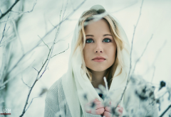 portrait, snow, girl, women, face, outdoors wallpaper