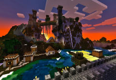 minecraft, castle, rock, lake, 3d, hd, video games wallpaper