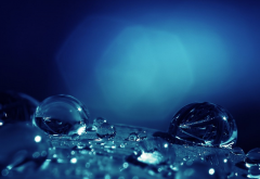 water drops, light, close-up, blue rain, macro wallpaper