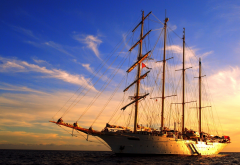 star clipper, sailing ship, sea, ship, sunset wallpaper