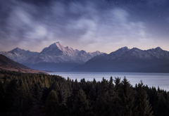nature, trees, forest, landscape, mountain, evening, water, lake, snow, snowy peak, stars, clouds, p wallpaper