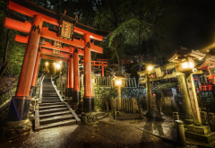 japan, harmony, hieroglyphs, stairs, night wallpaper
