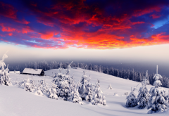 winter, art, graphics, photoshopen, nature, snow, sunset, red sky wallpaper