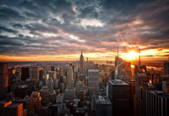 manhattan, new york, usa, skyscrapers, sunrise, city, clouds wallpaper