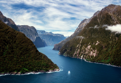 milford sound, new zealand, south island, nature, fjord, mountains, boat wallpaper