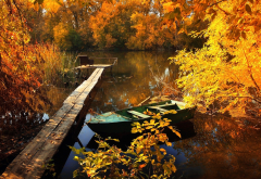 creek, bridge, boat, tree, yellow foliage, autumn, nature wallpaper