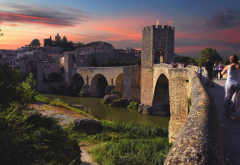 besalu, spain, roman bridge, girona, catalonia, bridge, river, city, world wallpaper